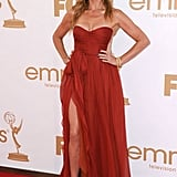 Lead actress in a drama nominee Connie Britton's dress had a thigh-high slit.