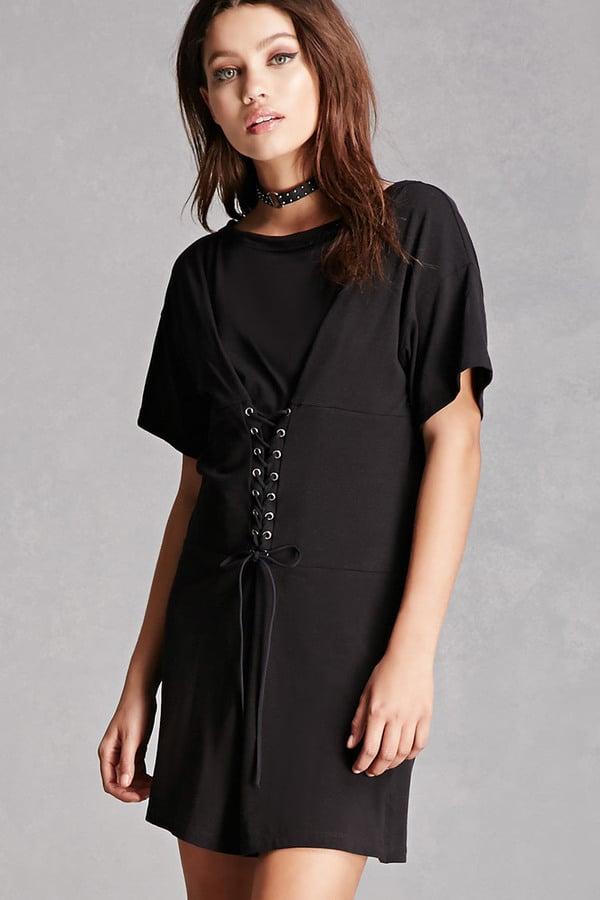 Forever 21 Corset T Shirt Dress Black Summer Dresses On Sale