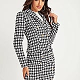Shein Shawl Collar Houndstooth Print Blazer and Bodycon Skirt Set