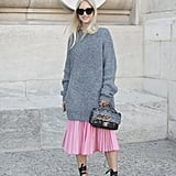 Go Oversize on Top, and Finish With Statement Shoes