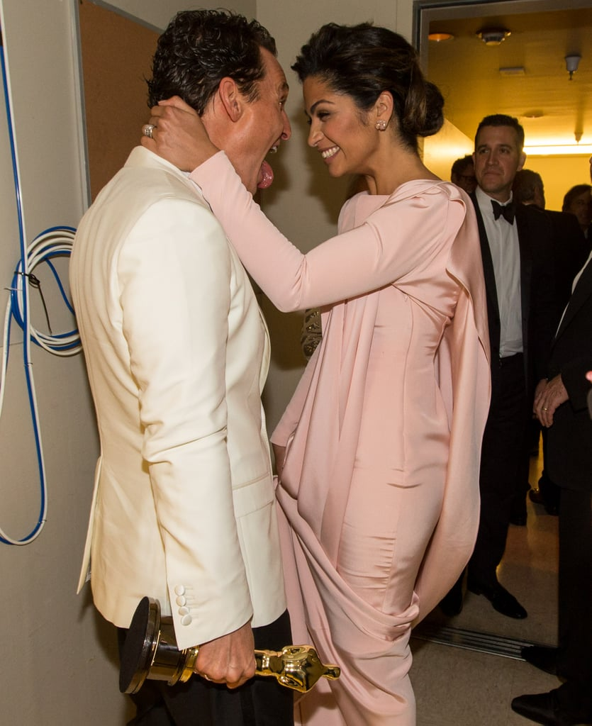 Camila Alves and Matthew McConaughey shared an adorable moment backstage after Matthew won.
