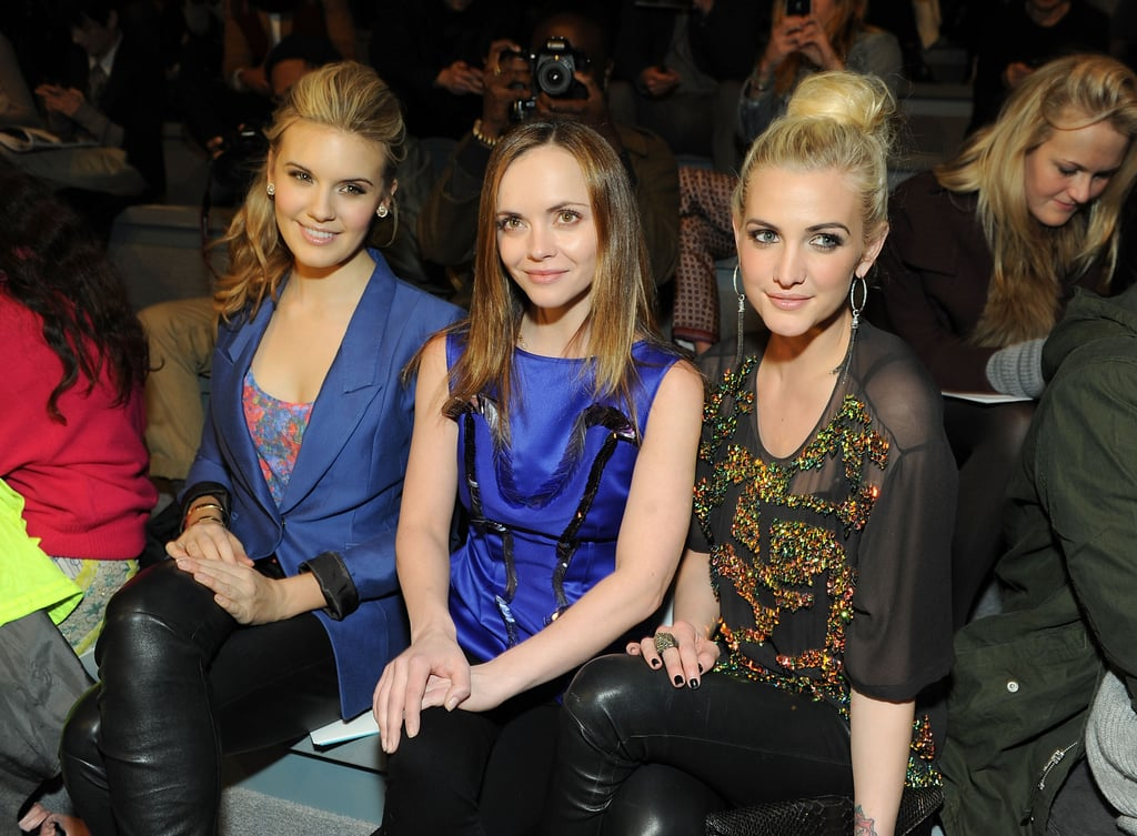 Maggie Grace, Christina Ricci, and Ashlee Simpson shared front-row status at Richard Chai Love at New York Fashion Week in February.
