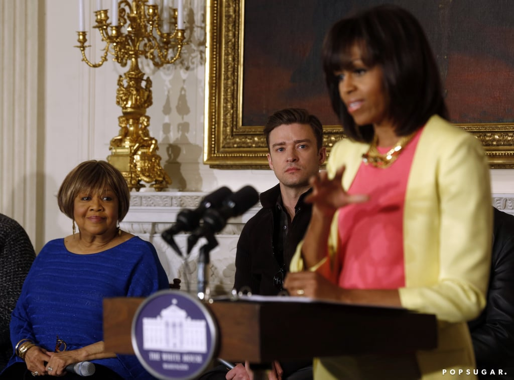 Michelle Obama spoke while Justin Timberlake and Mavis Staples looked on.