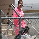 Jennifer Lopez got off of a plane in LA.