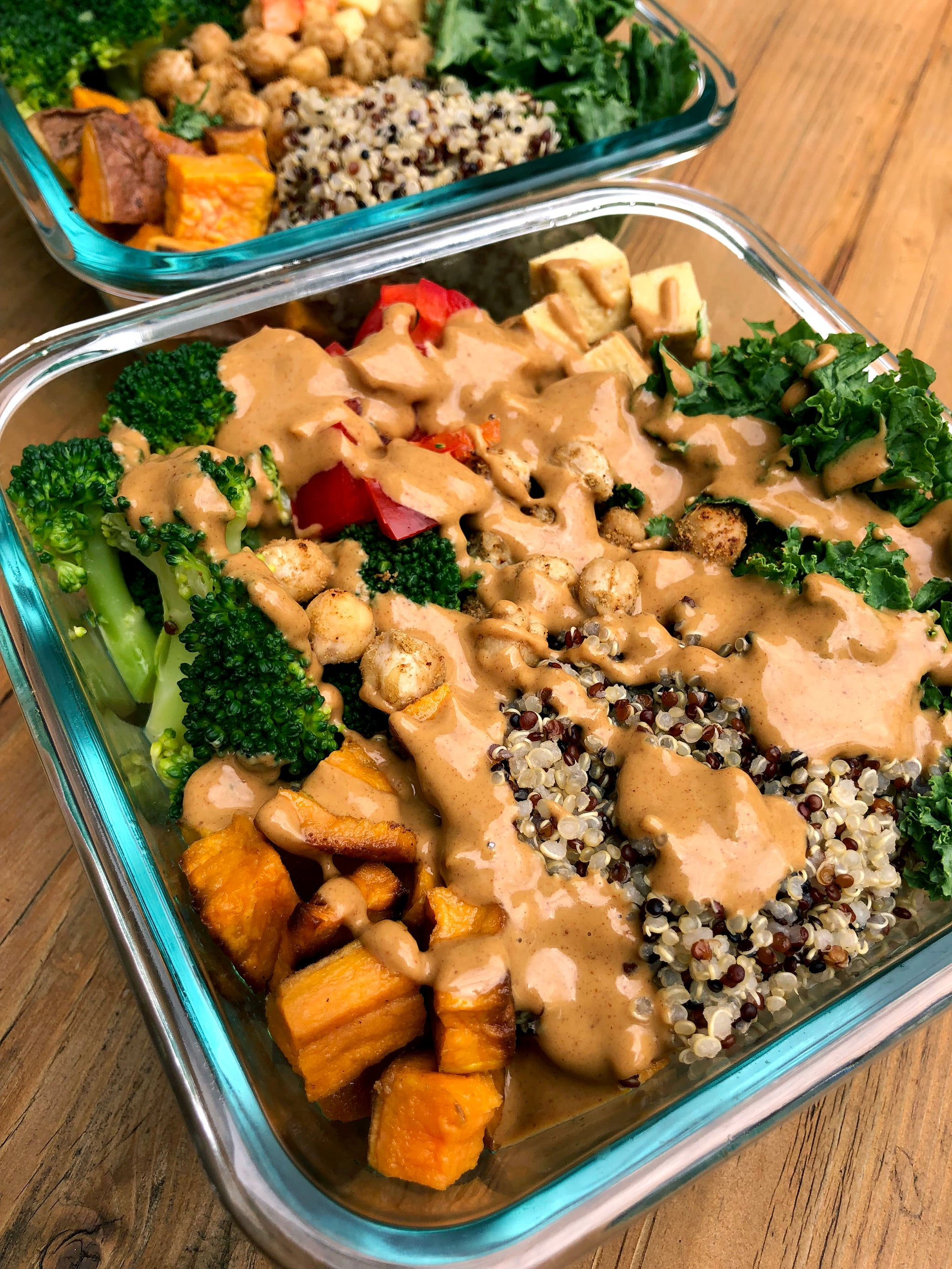 With 1 Hour of Prep, Make a Week's Worth of Sweet Potato Tofu Buddha Bowls With Peanut Sauce