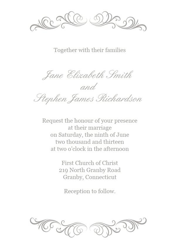 silver flourish wedding invitation