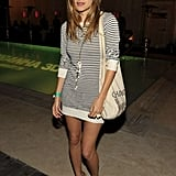 There was a nautical feel to Lake Bell's outfit which included Breton stripes and tan sandals.