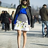 A fit-and-flare skirt with gorgeous print added a beautiful, ladylike touch to this look. Source: Le 21ème | Adam Katz Sinding
