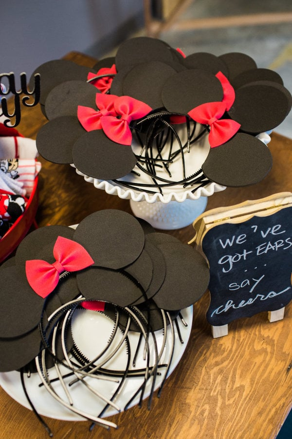 Guests were required to remove their shoes when they arrived at the space, so they were given Mickey or Minnie socks and a pair of ears to wear to get into the spirit.