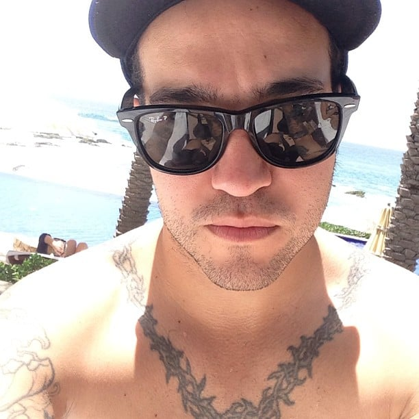 Pete Wentz showed off his tattoos during a beach day. Source: Instagram user petewentz