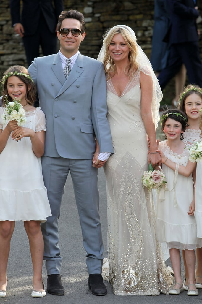 Kate Moss started dating Jamie Hince, the guitarist for The Kills, in 2007, and they married in 2011. Moss wore a dress by John Galliano for the occasion, which also included a mini music festival as part of the prewedding celebrations.