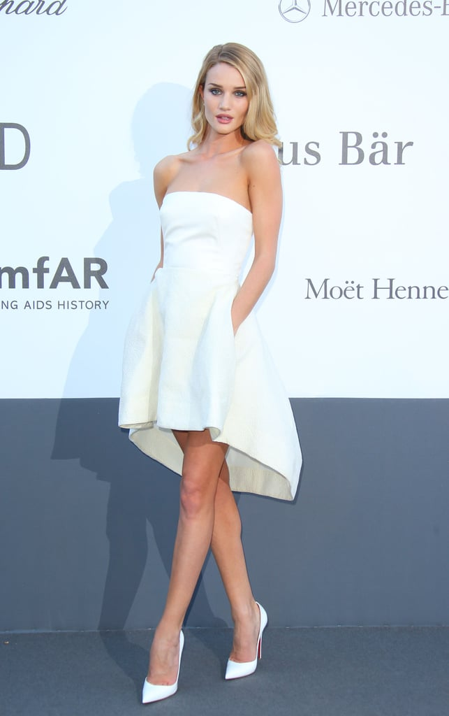 Rosie Huntington-Whiteley went all white in a strapless Dior dress and matching pointy pumps at amfAR's Cinema Against AIDS Gala in Cannes.