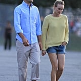 Joshua Jackson wore a light blue shirt and Diane Kruger was in a yellow sweater in Vancouver.