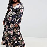 ASOS DESIGN Curve Wrap Maxi With Long Sleeve in Navy Floral Print
