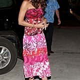 Kate teamed her batik outfit with wedges.