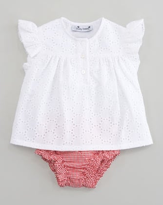 Your baby girl will stay cool and comfy, even on the hottest of afternoons, in Busy Bees' Evie eyelet ruffle dress and bloomers ($54).