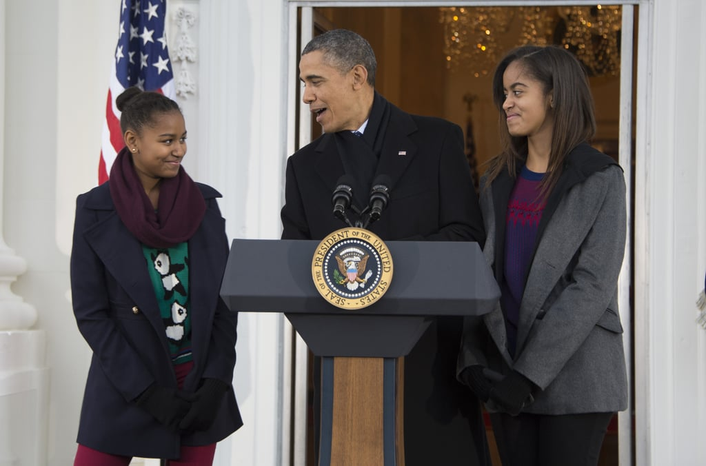 "During Barack Obama's 2012 acceptance speech, he gave a sweet shout-out to his daughters: ""Sasha and Malia, before our very eyes you're growing up to become two strong, smart, beautiful young women, just like your mom. And I'm so proud of you guys."""