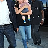 Jennifer Garner was all smiles carrying her son Samuel into their hotel.