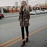 Xianiwta Faux Fur Leopard Coat
