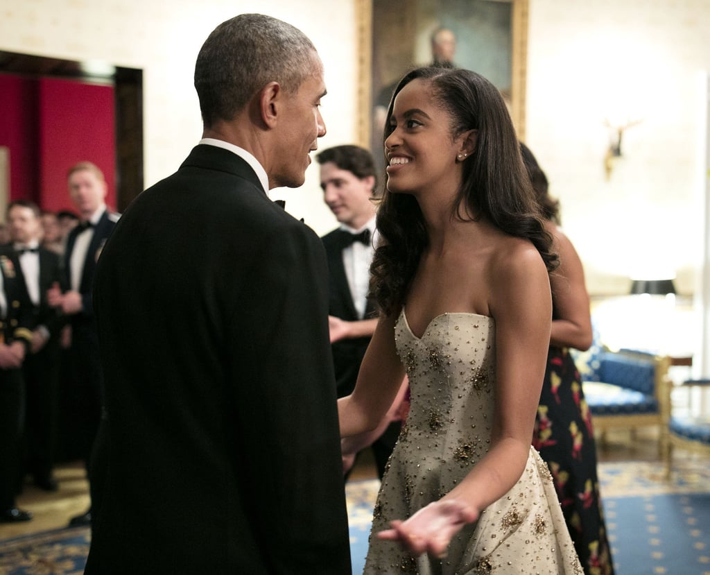 """During Barack's opening remarks at the state dinner, he couldn't help but gush about his girls. """"When I was first elected to this office, Malia was just 10 and Sasha was 7. And they grow up too fast,"""" he said. """"Now Malia is going off to college . . . and I'm starting to choke up."""""""