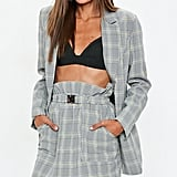 Missguided Grey Heritage Check Double Breasted Blazer ($70) and Mini Skirt ($50)
