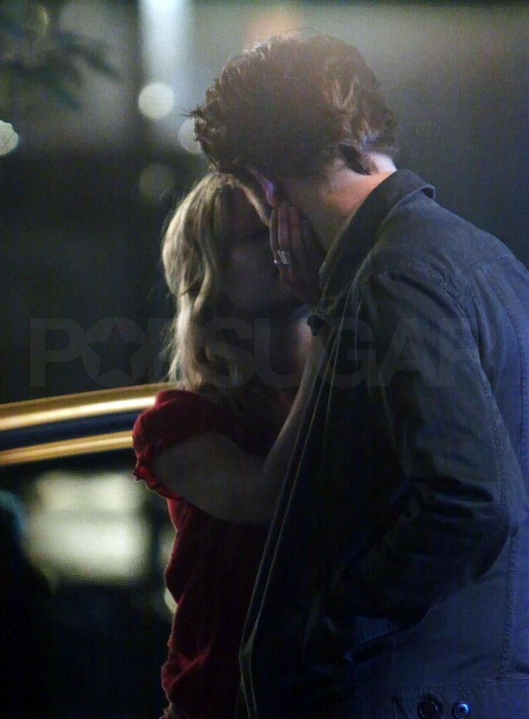 Robert and Emilie Kissing on the Set