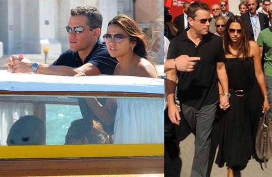 Photos of Matt Damon, Luciana Barroso Walking Around Venice