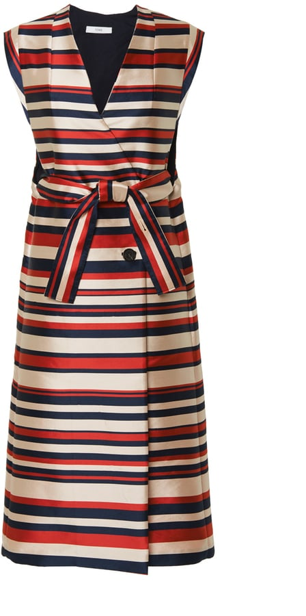 Tome Satin Striped Sleeveless Trenchcoat ($1,350)