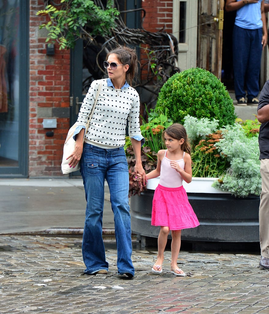 Katie Holmes and Suri Cruise held hands after brunch at Pastis in the Meatpacking District in NYC on Sunday. Suri beat the heat in a cute pink skirt, though on Saturday, she was all about matching her friend for a trip to the Bronx Zoo. Katie and Suri fed giraffes during the visit. Katie rounded out her weekend with a Friday night dinner out alongside her lawyer and his wife. A lot has been made about the interviews with Katie that have come out recently, though they were all conducted before she announced her split from Tom Cruise. Still, she's stayed pretty quiet in the wake of her divorce news. Katie skipped an event she was scheduled to host in LA this weekend. She is slated to return to Broadway this Fall, and Katie was a topic of conversation at the Summer TCA in LA, where Krysten Ritter revealed her hopes that Katie would guest star with James Van Der Beek on Don't Trust the B— in Apartment 23.