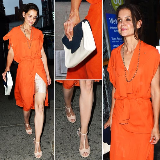 Katie Holmes Looks Sexy in Bright Orange Wrap Dress, Shows Her Slip On a Night Out in NYC: See it from all angles!