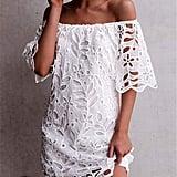 Prettygarden White Lace Shift Dress