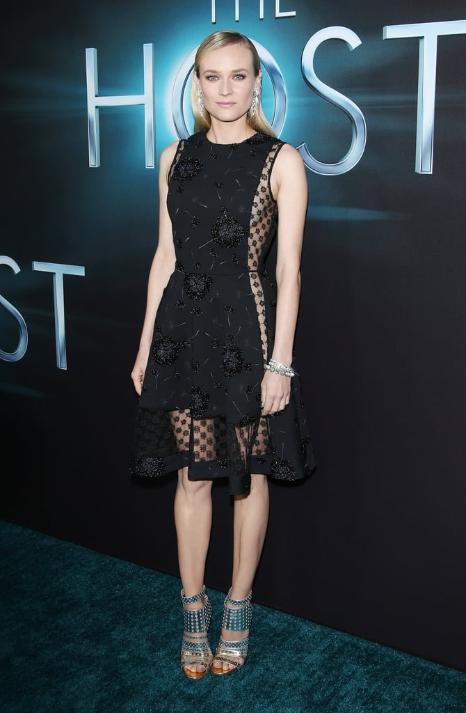 Diane Kruger made a showstopping arrival at the Host premiere in a black dandelion-print Thakoon sheath and a pair of metallic cutout Jimmy Choos.