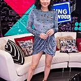 Wearing a blue velvet minidress while visiting the Young Hollywood Studio in 2019.