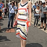 Caroline Issa outside the Salvatore Ferragamo Men's Spring 2013 show in Milan.