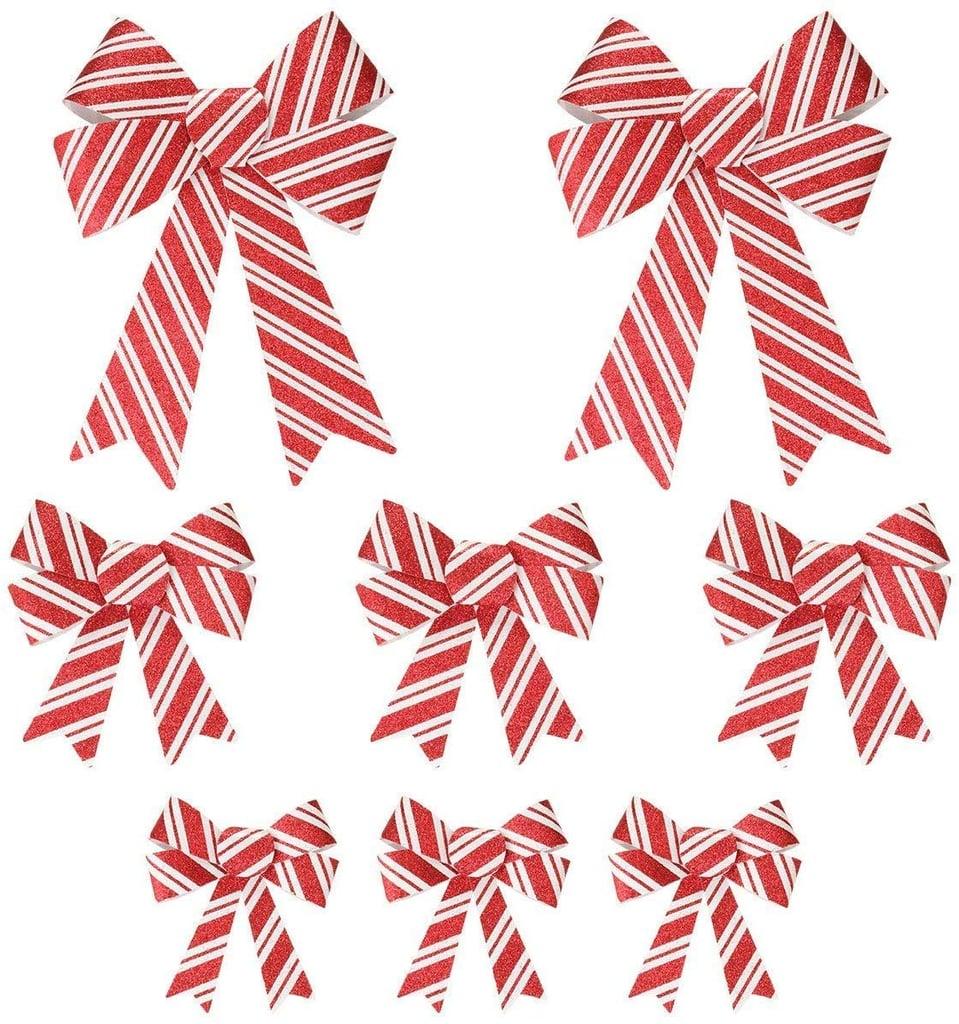 Christmas Candy Cane Bow Set