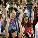 They got into the spirit with a wave during the Paralympic Games in August 2012.