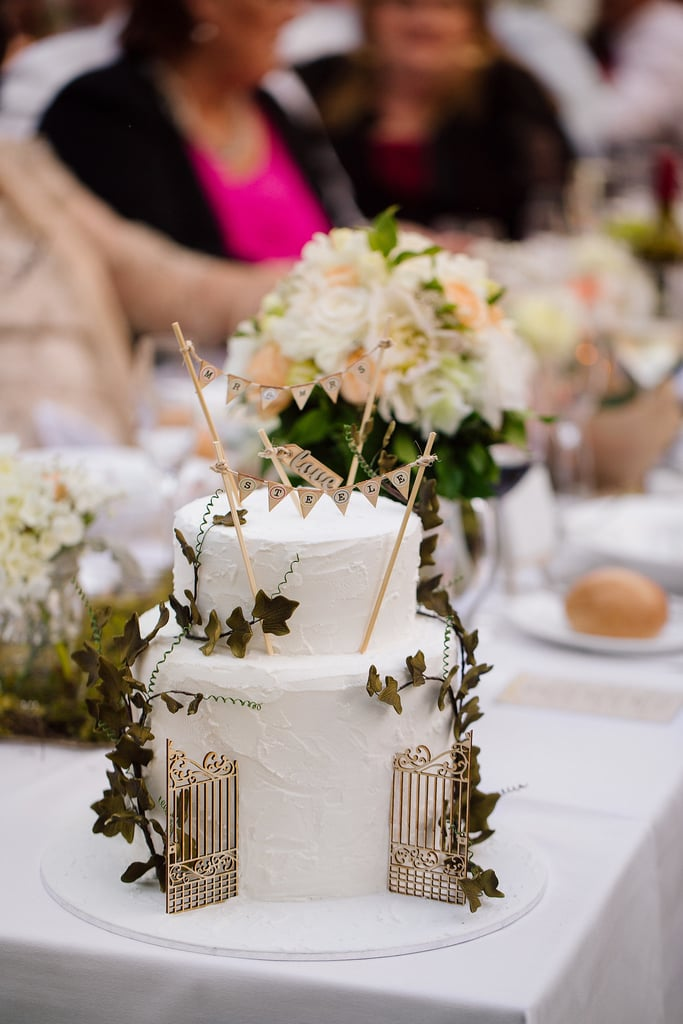 "Decorate your cake with greenery and banners that say ""Mr. and Mrs.,"" and it'll instantly be one for the books."