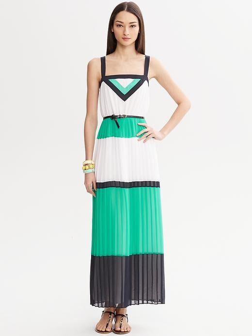 Dresses like this Colorblock Pleated Patio Maxi ($165) make it easy to style up something chic on the go. We'd add the collection's metallic clutch for an effortlessly polished Sunday brunch look.