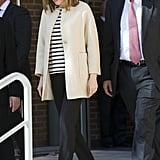 Queen Letizia sported a beige one-button jacket while visiting Madrid's Gypsy Secretariat Foundation in April 2016.