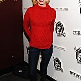 January Jones rocked a red sweater and a smile at the Sweetwater cast and filmmakers party.