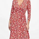 Print Wrinkle-Resistant Wrap Dress