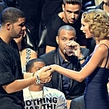 Drake greeted Taylor Swift at the VMAs.