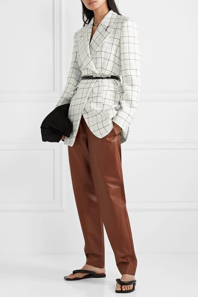 Tibi Embellished Checked Woven Blazer