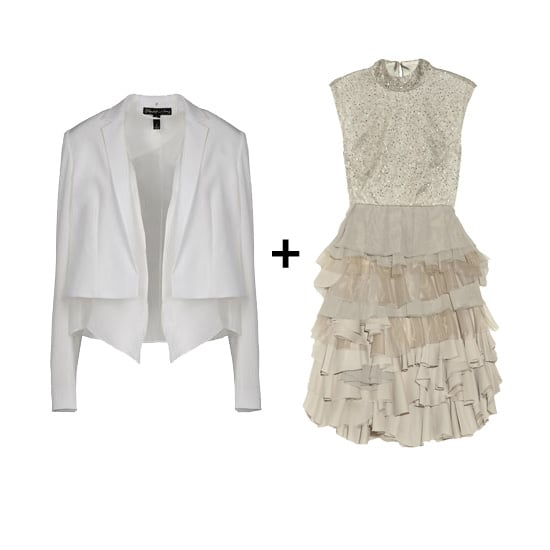 White Blazer + Peplum Dress