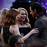 Naomi Watts and Julianne Moore stopped to chat with Adrien Brody.