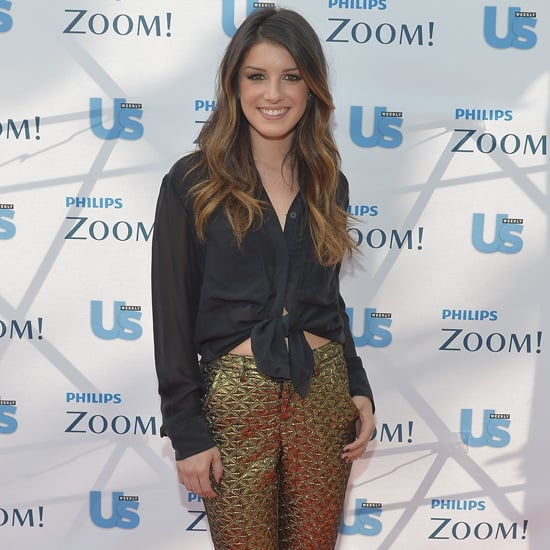 Shenae Grimes Wearing Gold Pants