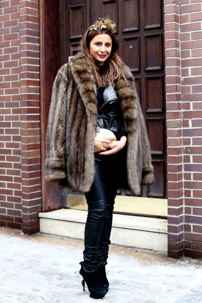 A plush fur kept this styler cozy — and glam.