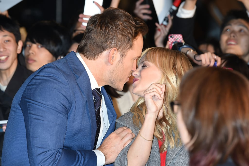 "Chris Pratt kicked off his press tour for Guardians of the Galaxy Vol. 2 in Tokyo on Monday. The handsome actor cut a suave figure in a crisp blue suit and had wife Anna Faris cheering him on from the sidelines. In between talking up the film and posing for pictures with co-stars Zoe Saldana and Dave Bautista and director James Gunn, Chris stopped to give his wife a quick kiss on the red carpet. He later gave her a shout-out on Instagram, writing, ""Thank you for the support honey! You look so beautiful. These press tours can be such a whirlwind. I'm grateful to have you and the boy with me on this one. Although it's 3:00am right now, I was just awakened by a square kick to the back as little man climbed into bed and then must have had a karate dream or something and now I can't sleep. I'm on insta instead. All you dads and mums know what I'm talking about. 😂♥️🙏👆👍🏼🙌""       Related:                                                                                                           A Look Back at Anna Faris and Chris Pratt's Sweetest and Most Hilarious Moments               Chris and Anna have been bringing joy into our lives since they first got together in 2007, and now that their son Jack, 4, is old enough to join in on the fun, hopefully he'll make an appearance at one of the film's upcoming premieres."