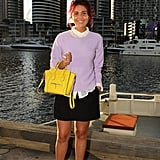 The lilac sweater, bright yellow Céline mini luggage tote, and multicolored socks made this look all about the color story.
