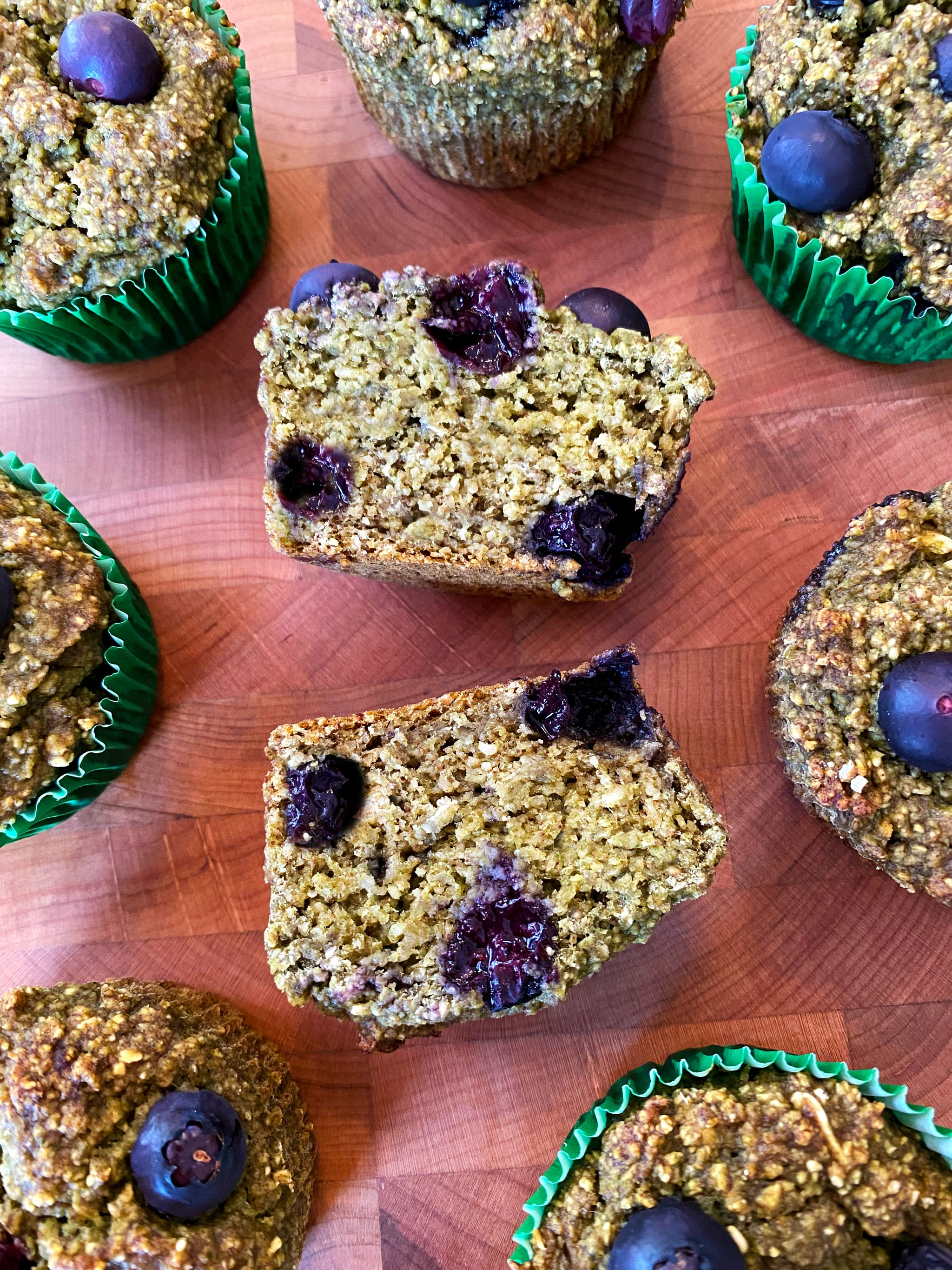 Refined-Sugar-Free Banana Blueberry Spinach Muffins 8